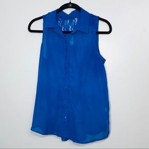 Sheer Blue Tank Top. W/Collar and Button Front